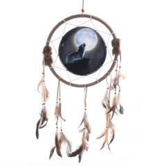 Wolf Dreamcatcher - Wolf Howling at Moon