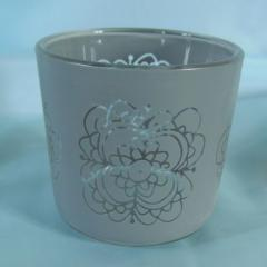 Grey Glass Votive Candle holder