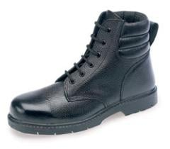 BLACK LEATHER PADDED DERBY BOOT RUBBER NITRILE