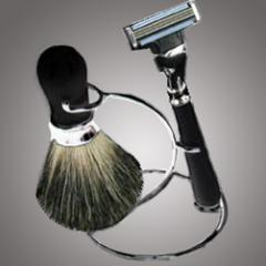 Shaving Set With Chrome Stand