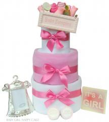 Newborn Baby Girl 3 Tier Nappy Cake