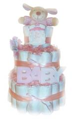 Baby Girl Pink 3 Tier Nappy Cake