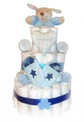 Baby Boy Blue 3 Tier Nappy Cake
