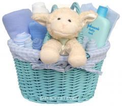 Newborn Baby Boy Blue Gift Basket