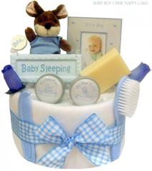 Baby Boy Blue 1 Tier Nappy Cake