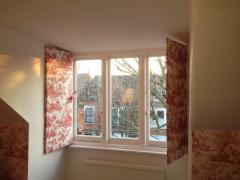 Window panels covered in fabric