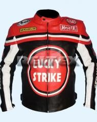 Lucky Strike Red/Black Premium Leather Motorcycle Jacket