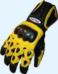 Radon YELLOW Pro Racer Leather Motorcycle Gloves
