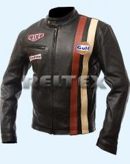 Steve McQueen Black Le-Man Grand Prix Legends Leather Jacket