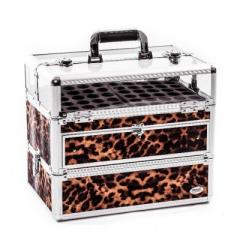 Crystal Nail Artist Beauty Case Leopard