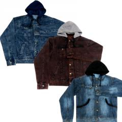 Wholesale Men's Hooded Denim Jackets
