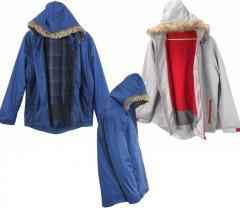Wholesale Mens Fur Hooded Lined Curved Hem Zip Jacket