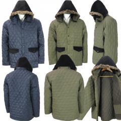 Wholesale Mens Quilted Fur Trim Hood Jacket
