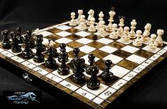 PEARL wooden chess set 35 x 35cm, hand crafted, burnt design