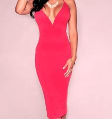 V Neck Midi Hot Dress