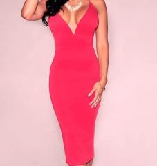 V Neck Midi Hot Dress