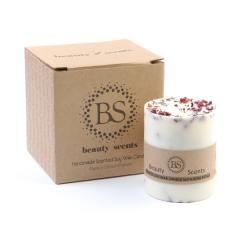 Beauty Scents Handmade Champagne& Roses Scented Soy Wax Candle With Rose Petals D 9 cm