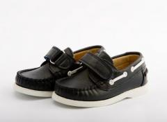 Andanines Boys Navy Boat Shoe