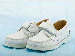 Boys Andanines White Leather Boat Shoe