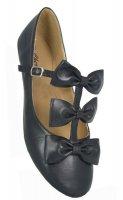 Ladies Flat Shoes Black Matt