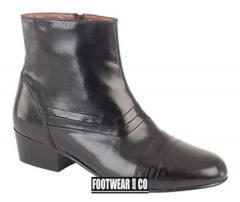 Mens Black Leather Cuban Heel Boots