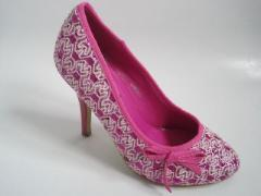 Pink Lacy Glitter Stiletto Prom Shoes