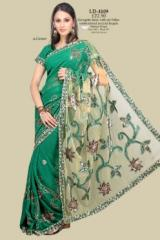 Green Georgette Saree with net Pallav embroidered