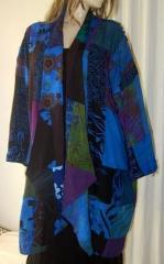 Patchwork Coat Jacket Robe Blue