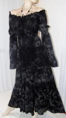 Smoke Batik Mexican Peasant Dress Black Grey