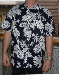 Mens Hawaiian Style Short Sleeve Shirt Large Dark