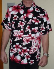 Mens Hawaiian Style Short Sleeve Shirt Large Black