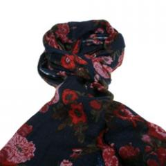 Navy scarf with all over fushia flower print
