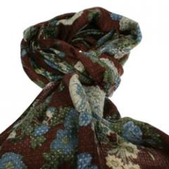 Brown scarf with all over blue green flower print