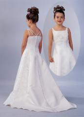A-Line Floor Length White Satin Flower Girl Dress