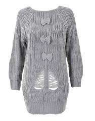 Bow Front Rip Cable Jumper in Grey