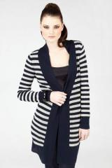 Navy Striped Longline Cardigan