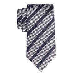 Navy puppytooth stripe handmade tie