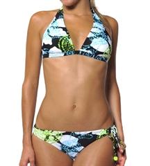 Roxy Concentric Dots Tie Side Black Bikini