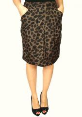 Leopard Print Pocket Pencil Skirt