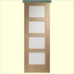 Oak Shaker Frosted Glass Fire Doors