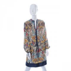 Multicolored silk print tunic