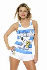 Snoopy Sailor blue and white striped stretch