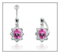 Pink Topaz & Diamond Belly Bar in White Gold