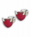 White Gold and Ruby Devil 'Art Cufflinks