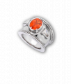 White Gold, Mandarin Garnet and Diamond Bombé Ring