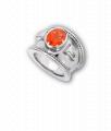 White Gold, Mandarin Garnet and Diamond Bombé Ring