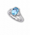 White Gold, Oval Cut Aquamarine and Diamond 3 Stone Ring
