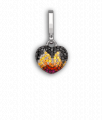 White Gold Black Diamond, Yellow and Orange Sapphire and Ruby Baby Fire 'Art Charm