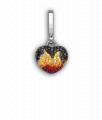 White Gold Black Diamond, Yellow and Orange Sapphire and Ruby Baby Fire 'Art Charm