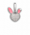 White Gold and Diamond Baby Bunny 'Art Charm